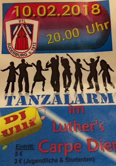 Luthers Carpe Diem Suderburg - Tanzalarm am 10. Februar