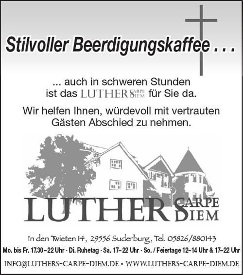 Luthers Carpe Diem Suderburg - Trauerkaffee